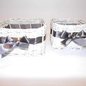 Koszyk papierowy kwadratowy ze wstążką K0015